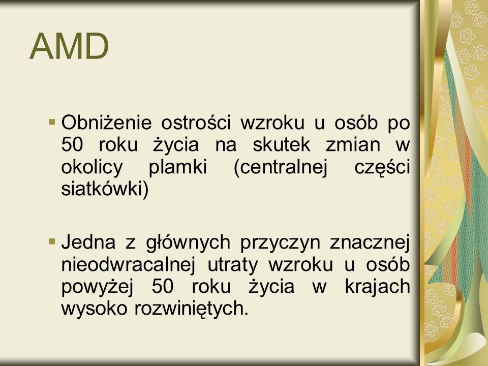 AMD Obniżenie ostrości wzroku u osób po 50 roku życia na skutek zmian w okolicy plamki (centralnej części siatkówki) Jedna z głównych przyczyn znaczne