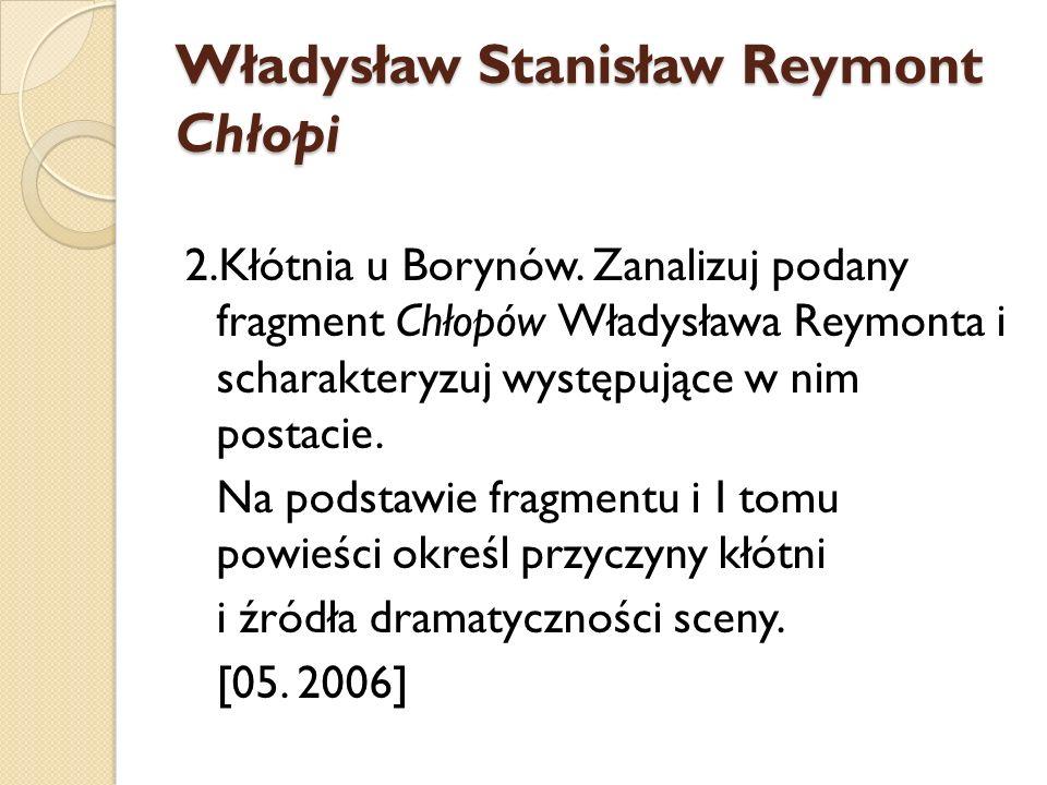 Władysław Stanisław Reymont Chłopi 2.Kłótnia u Borynów. Zanalizuj podany fragment Chłopów Władysława Reymonta i scharakteryzuj występujące w nim posta