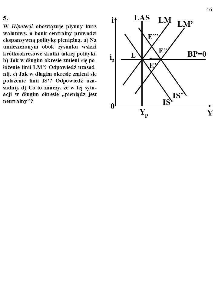 45 4. Czy to prawda, że skuteczność dewaluacji wzmacniają: a) Efekt krzywej J? b) Efekt histerezy? c) Sterylizacja? Za każdym razem uzasadnij swoją op