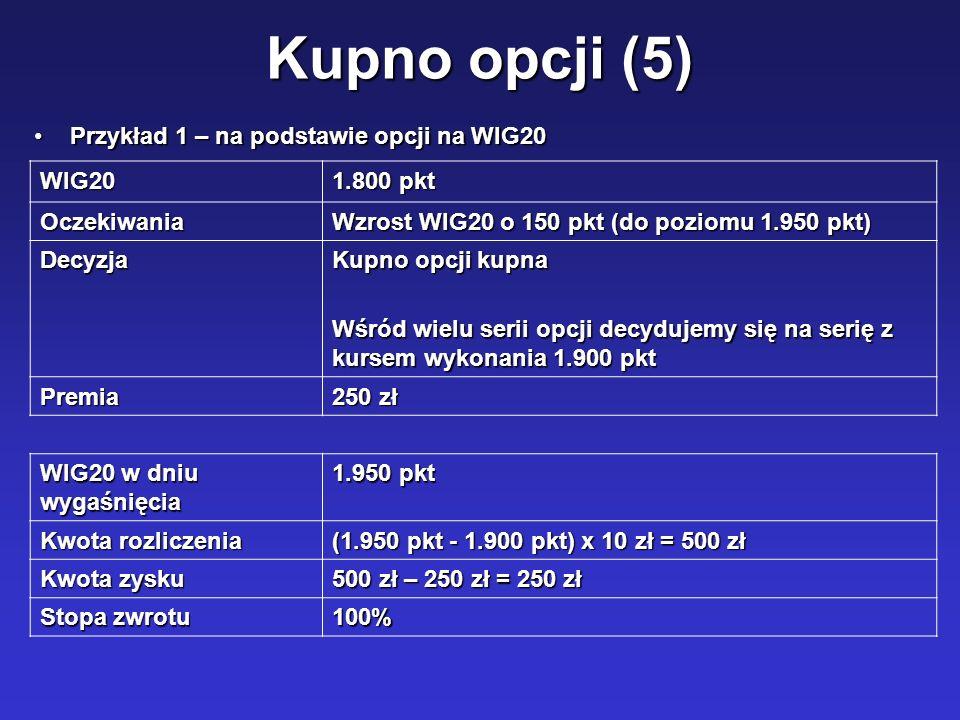 Kupno opcji (5) Przykład 1 – na podstawie opcji na WIG20Przykład 1 – na podstawie opcji na WIG20 WIG20 1.800 pkt Oczekiwania Wzrost WIG20 o 150 pkt (d
