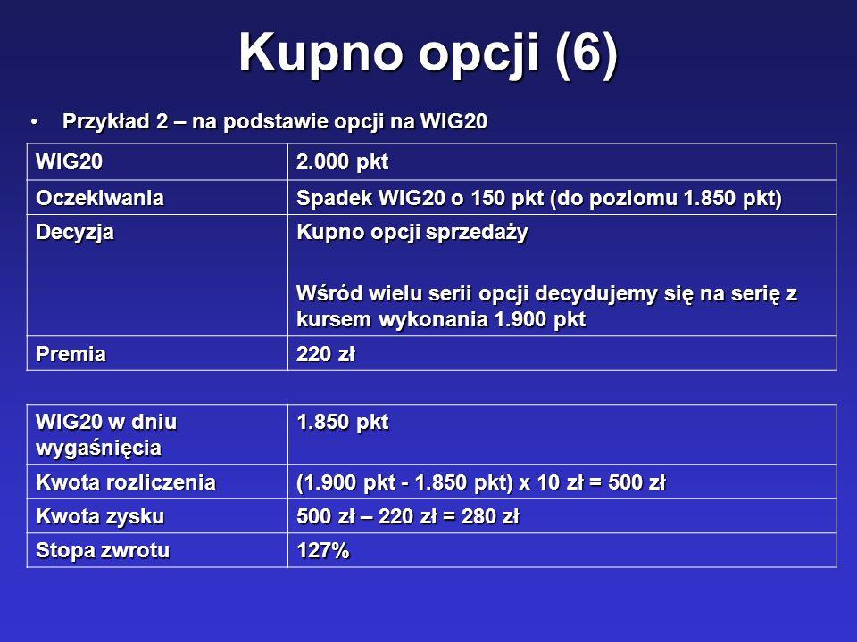 Kupno opcji (6) Przykład 2 – na podstawie opcji na WIG20Przykład 2 – na podstawie opcji na WIG20 WIG20 2.000 pkt Oczekiwania Spadek WIG20 o 150 pkt (d
