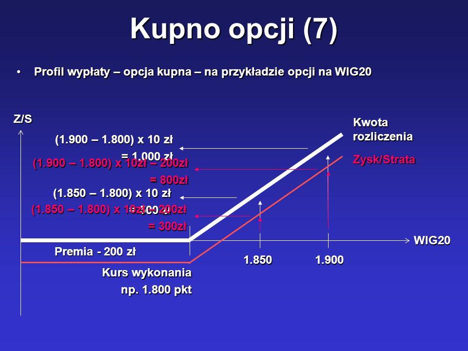 Kupno opcji (7) Profil wypłaty – opcja kupna – na przykładzie opcji na WIG20Profil wypłaty – opcja kupna – na przykładzie opcji na WIG20 Kurs wykonani