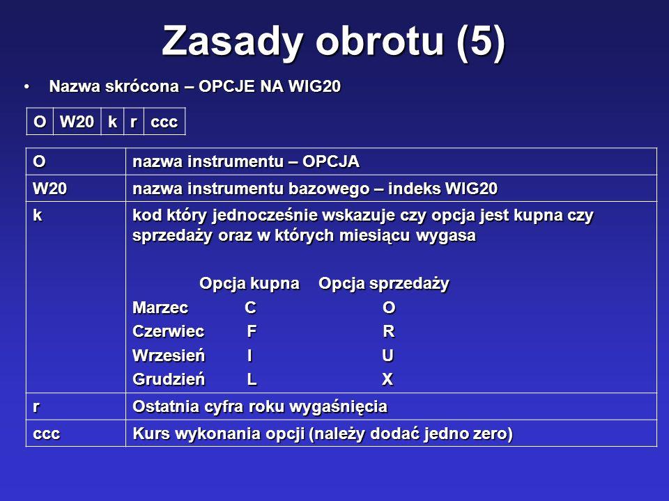 Zasady obrotu (5) Nazwa skrócona – OPCJE NA WIG20Nazwa skrócona – OPCJE NA WIG20 OW20krccc O nazwa instrumentu – OPCJA W20 nazwa instrumentu bazowego
