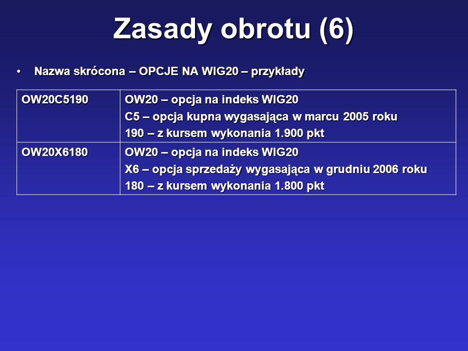 Zasady obrotu (6) Nazwa skrócona – OPCJE NA WIG20 – przykładyNazwa skrócona – OPCJE NA WIG20 – przykłady OW20C5190 OW20 – opcja na indeks WIG20 C5 – o