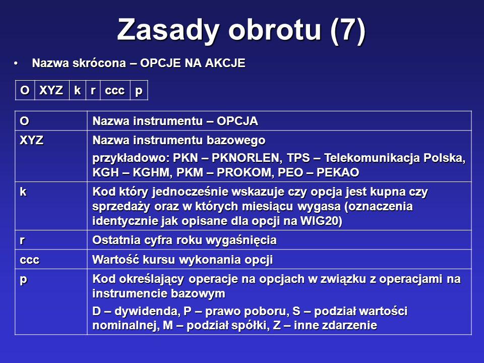 Zasady obrotu (7) Nazwa skrócona – OPCJE NA AKCJENazwa skrócona – OPCJE NA AKCJE OXYZkrcccp O Nazwa instrumentu – OPCJA XYZ Nazwa instrumentu bazowego