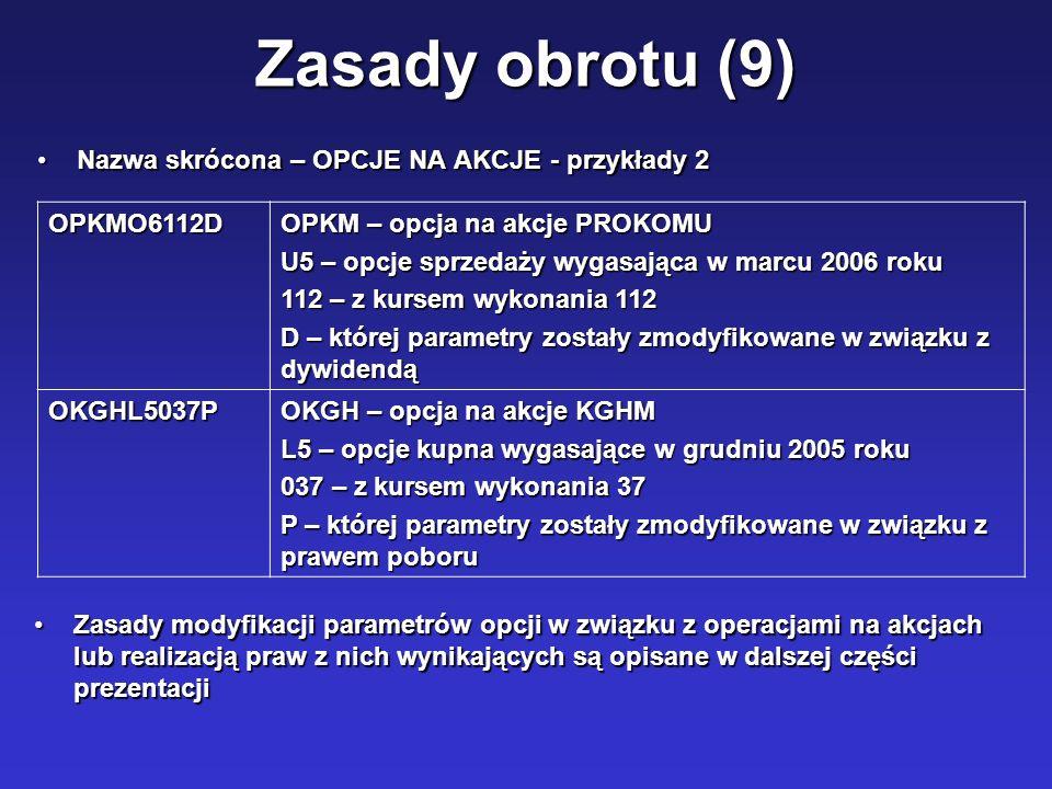 Zasady obrotu (9) Nazwa skrócona – OPCJE NA AKCJE - przykłady 2Nazwa skrócona – OPCJE NA AKCJE - przykłady 2 OPKMO6112D OPKM – opcja na akcje PROKOMU