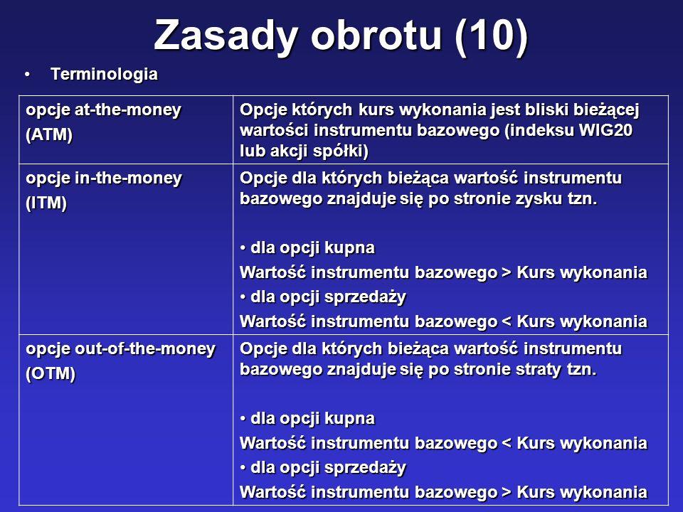 Zasady obrotu (10) TerminologiaTerminologia opcje at-the-money (ATM) Opcje których kurs wykonania jest bliski bieżącej wartości instrumentu bazowego (