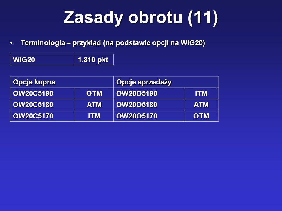 Zasady obrotu (11) Terminologia – przykład (na podstawie opcji na WIG20)Terminologia – przykład (na podstawie opcji na WIG20) WIG20 1.810 pkt Opcje ku