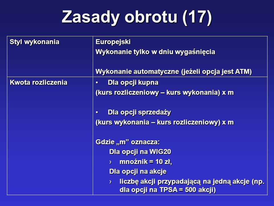 Zasady obrotu (17) Styl wykonania Europejski Wykonanie tylko w dniu wygaśnięcia Wykonanie automatyczne (jeżeli opcja jest ATM) Kwota rozliczenia Dla o
