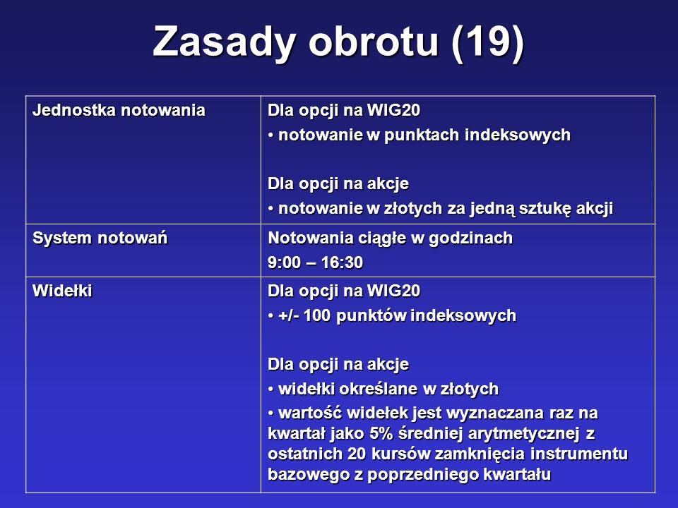 Zasady obrotu (19) Jednostka notowania Dla opcji na WIG20 notowanie w punktach indeksowych notowanie w punktach indeksowych Dla opcji na akcje notowan