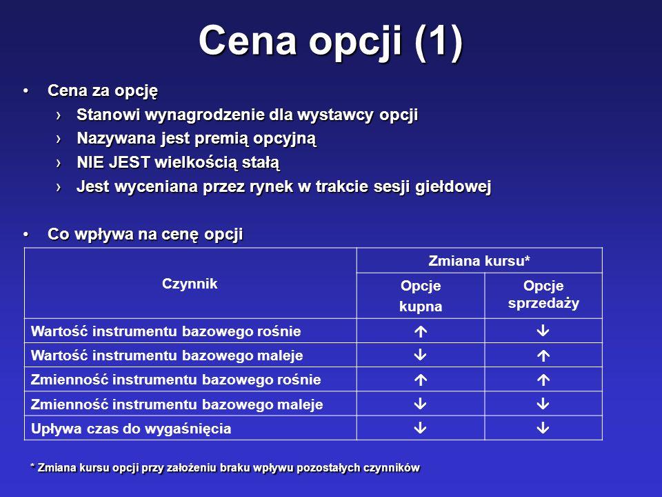 Cena opcji (1) Cena za opcjęCena za opcję Stanowi wynagrodzenie dla wystawcy opcjiStanowi wynagrodzenie dla wystawcy opcji Nazywana jest premią opcyjn
