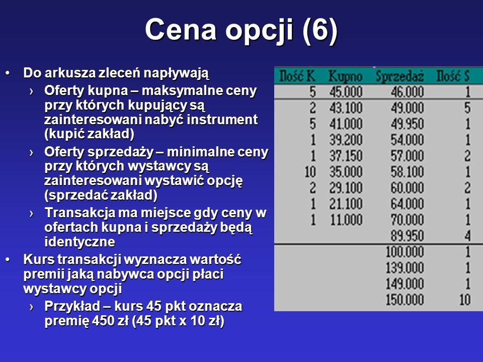 Cena opcji (6) Do arkusza zleceń napływająDo arkusza zleceń napływają Oferty kupna – maksymalne ceny przy których kupujący są zainteresowani nabyć ins