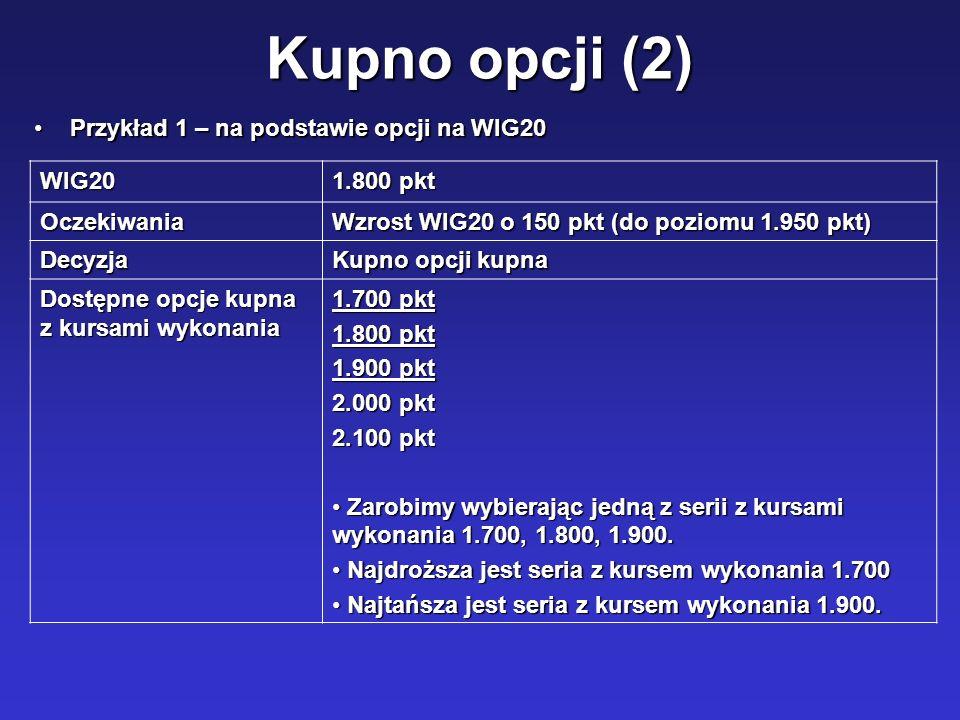 Kupno opcji (2) WIG20 1.800 pkt Oczekiwania Wzrost WIG20 o 150 pkt (do poziomu 1.950 pkt) Decyzja Kupno opcji kupna Dostępne opcje kupna z kursami wyk