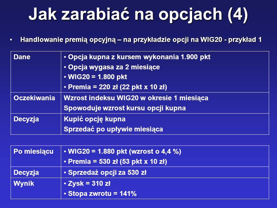 Jak zarabiać na opcjach (4) Handlowanie premią opcyjną – na przykładzie opcji na WIG20 - przykład 1Handlowanie premią opcyjną – na przykładzie opcji n