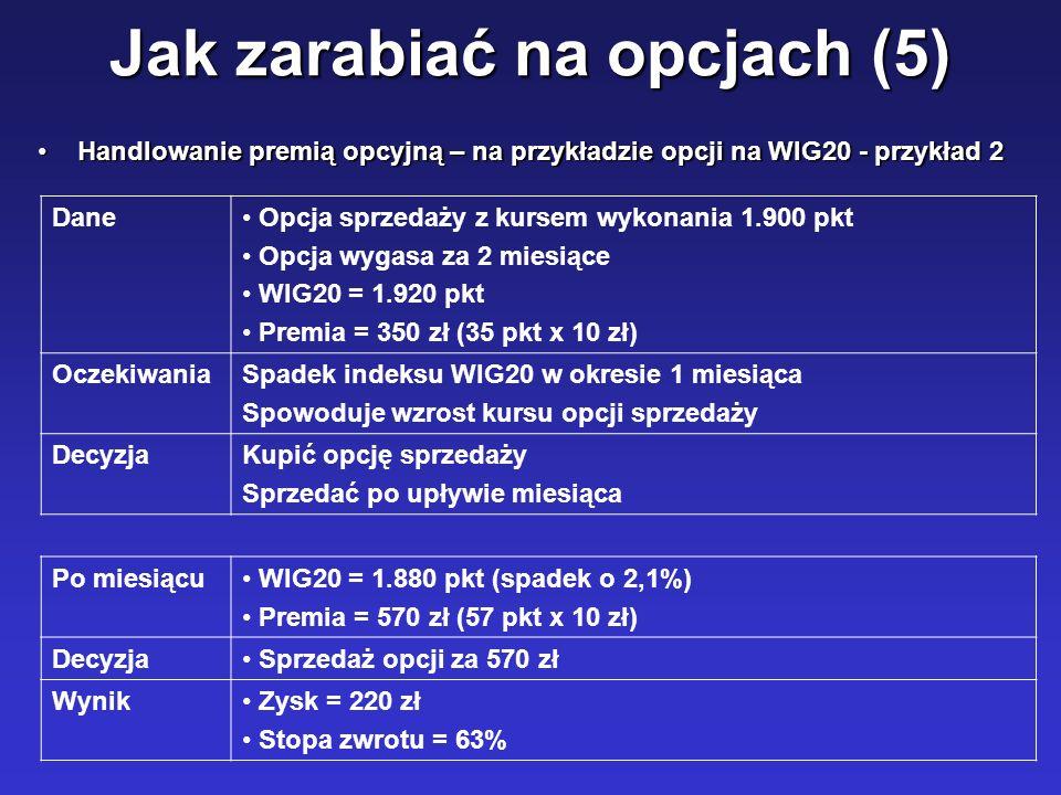 Jak zarabiać na opcjach (5) Handlowanie premią opcyjną – na przykładzie opcji na WIG20 - przykład 2Handlowanie premią opcyjną – na przykładzie opcji n