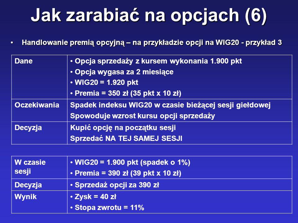 Jak zarabiać na opcjach (6) Handlowanie premią opcyjną – na przykładzie opcji na WIG20 - przykład 3Handlowanie premią opcyjną – na przykładzie opcji n