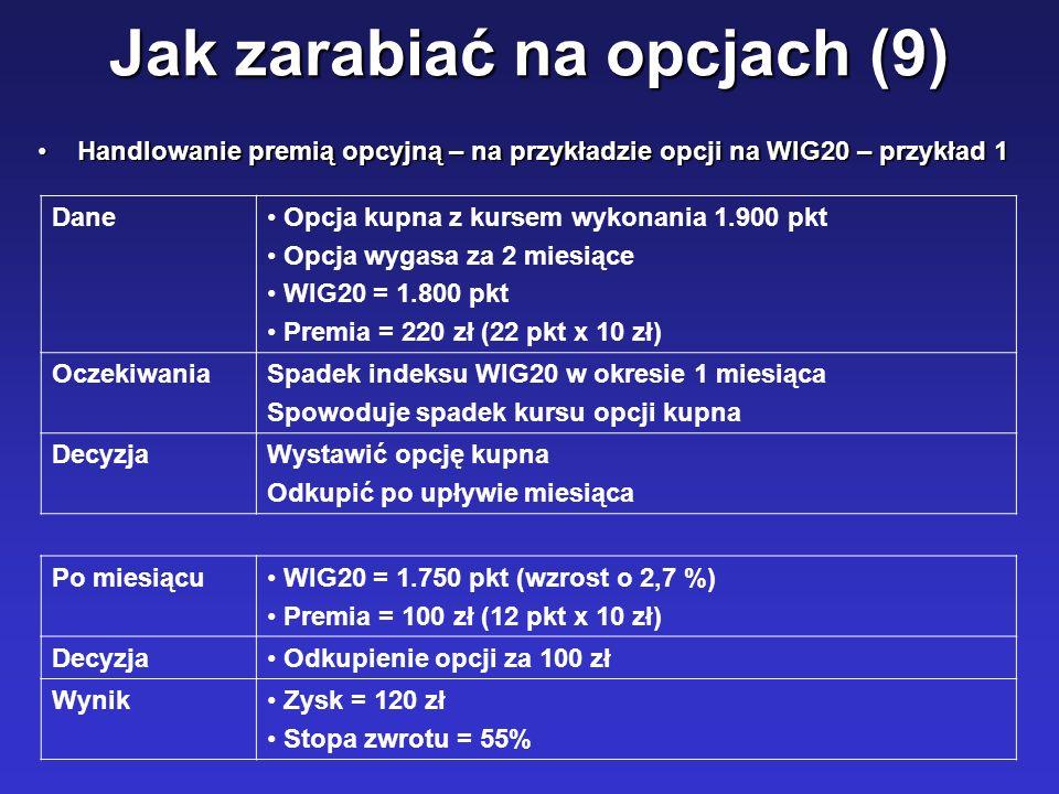Jak zarabiać na opcjach (9) Handlowanie premią opcyjną – na przykładzie opcji na WIG20 – przykład 1Handlowanie premią opcyjną – na przykładzie opcji n