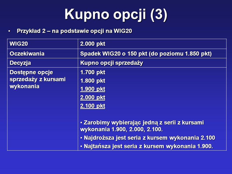 Kupno opcji (3) WIG20 2.000 pkt Oczekiwania Spadek WIG20 o 150 pkt (do poziomu 1.850 pkt) Decyzja Kupno opcji sprzedaży Dostępne opcje sprzedaży z kur