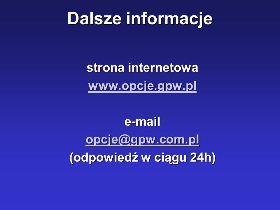 Dalsze informacje strona internetowa www.opcje.gpw.pl e-mail opcje@gpw.com.pl (odpowiedź w ciągu 24h)