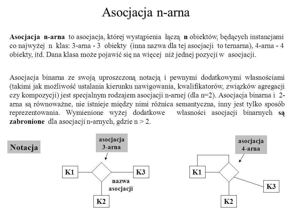Asocjacja n-arna Asocjacja n-arna to asocjacja, której wystąpienia łączą n obiektów, będących instancjami co najwyżej n klas: 3-arna - 3 obiekty (inna