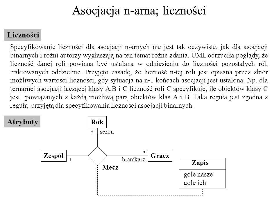 Asocjacja n-arna; liczności Liczności Specyfikowanie liczności dla asocjacji n-arnych nie jest tak oczywiste, jak dla asocjacji binarnych i różni auto