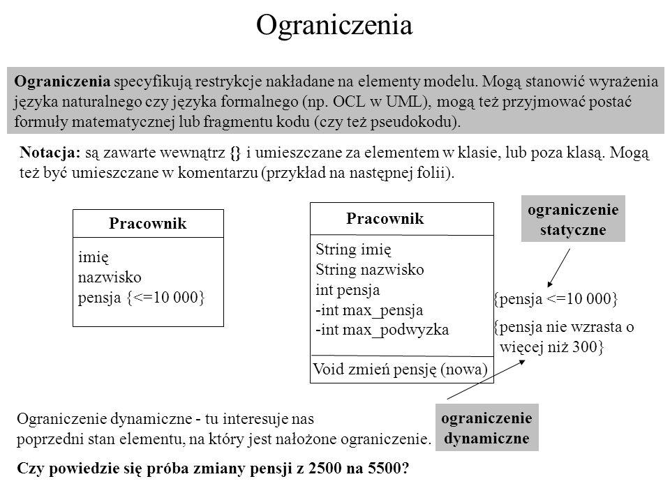 Ograniczenia Ograniczenia specyfikują restrykcje nakładane na elementy modelu. Mogą stanowić wyrażenia języka naturalnego czy języka formalnego (np. O