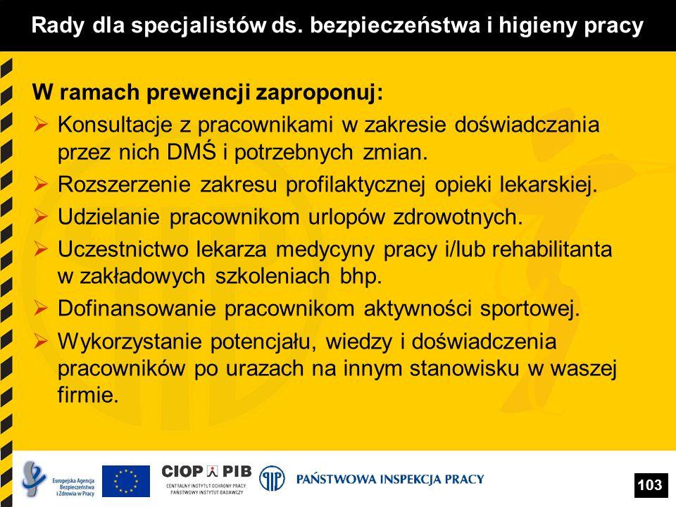 103 Rady dla specjalistów ds. bezpieczeństwa i higieny pracy W ramach prewencji zaproponuj: Konsultacje z pracownikami w zakresie doświadczania przez
