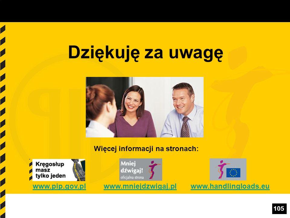 105 Więcej informacji na stronach: www.pip.gov.plwww.mniejdzwigaj.plwww.handlingloads.euwww.pip.gov.plwww.mniejdzwigaj.plwww.handlingloads.eu Dziękuję