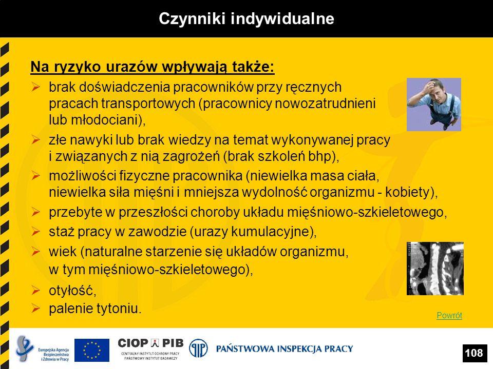 108 Czynniki indywidualne Na ryzyko urazów wpływają także: brak doświadczenia pracowników przy ręcznych pracach transportowych (pracownicy nowozatrudn