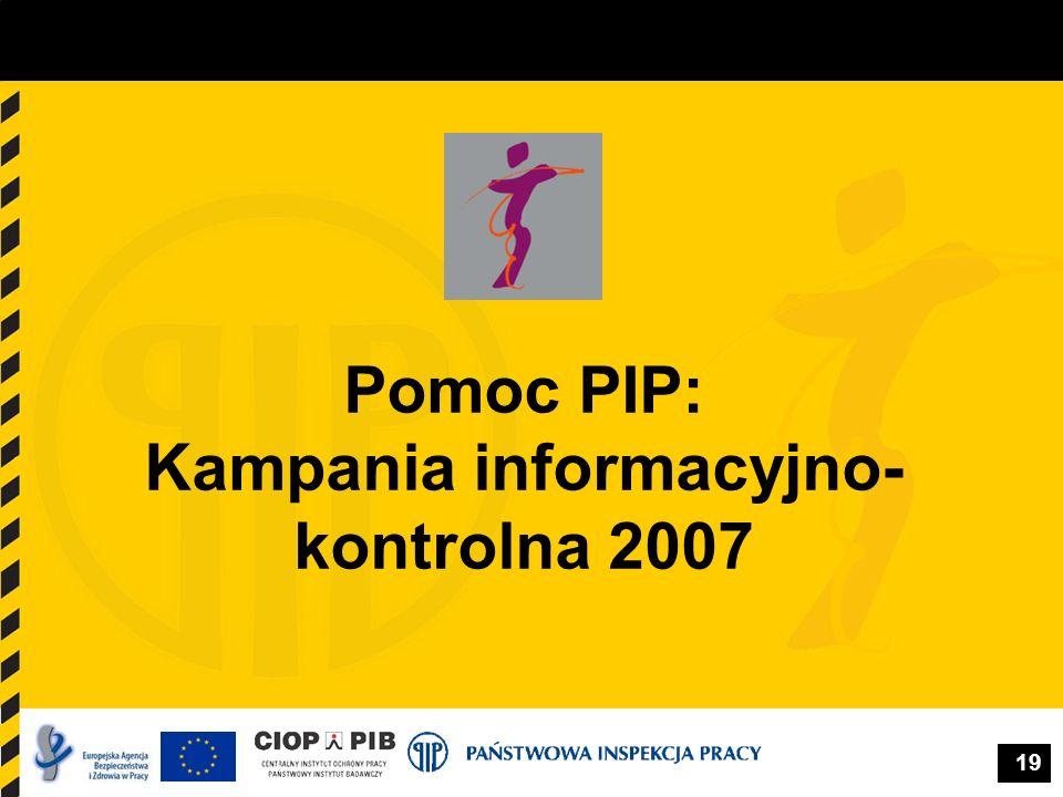 19 Pomoc PIP: Kampania informacyjno- kontrolna 2007