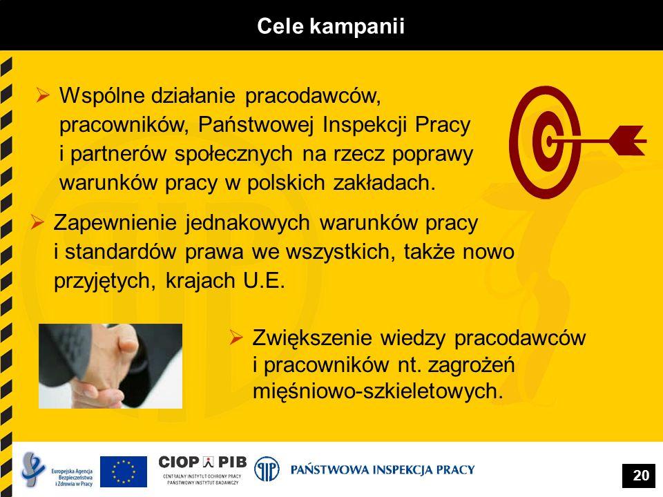 20 Cele kampanii Zapewnienie jednakowych warunków pracy i standardów prawa we wszystkich, także nowo przyjętych, krajach U.E. Wspólne działanie pracod