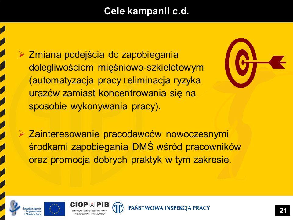 21 Cele kampanii c.d. Zainteresowanie pracodawców nowoczesnymi środkami zapobiegania DMŚ wśród pracowników oraz promocja dobrych praktyk w tym zakresi
