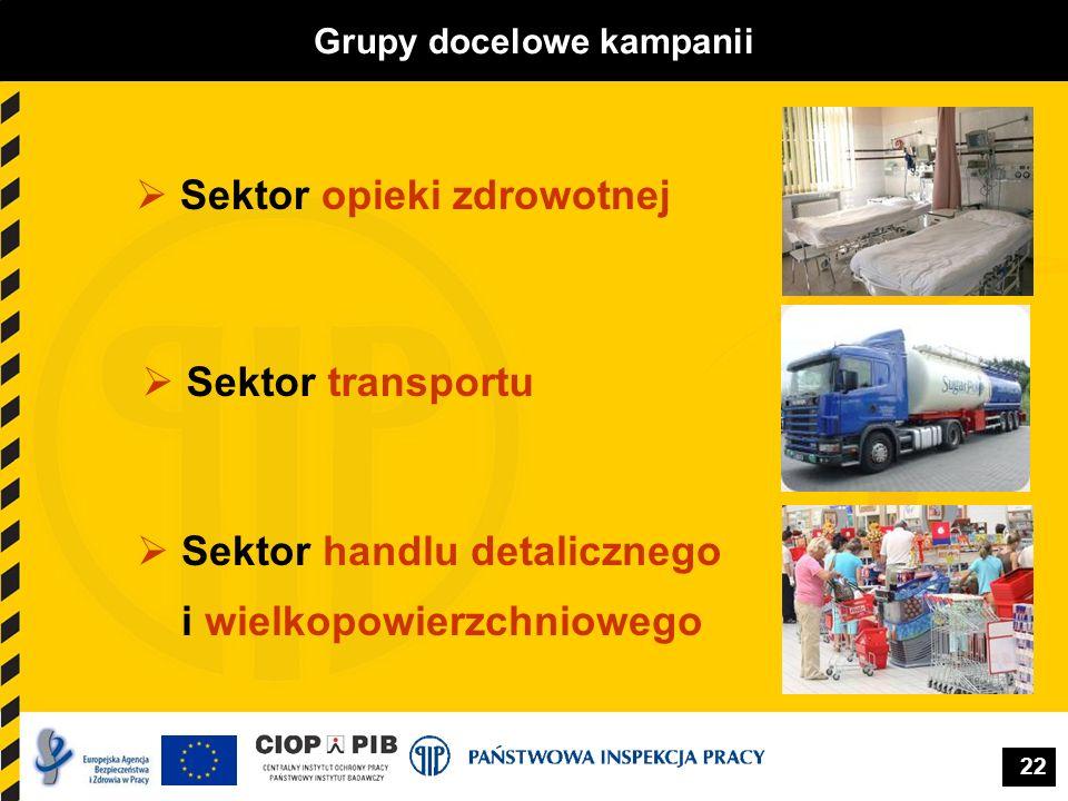 22 Sektor opieki zdrowotnej Grupy docelowe kampanii Sektor transportu Sektor handlu detalicznego i wielkopowierzchniowego