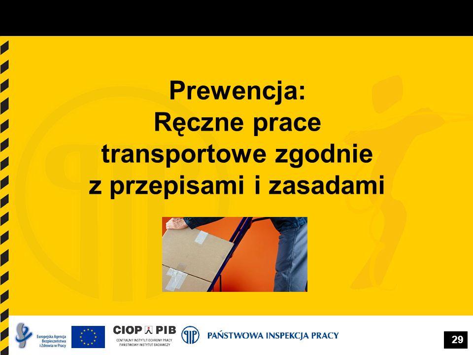 29 Prewencja: Ręczne prace transportowe zgodnie z przepisami i zasadami