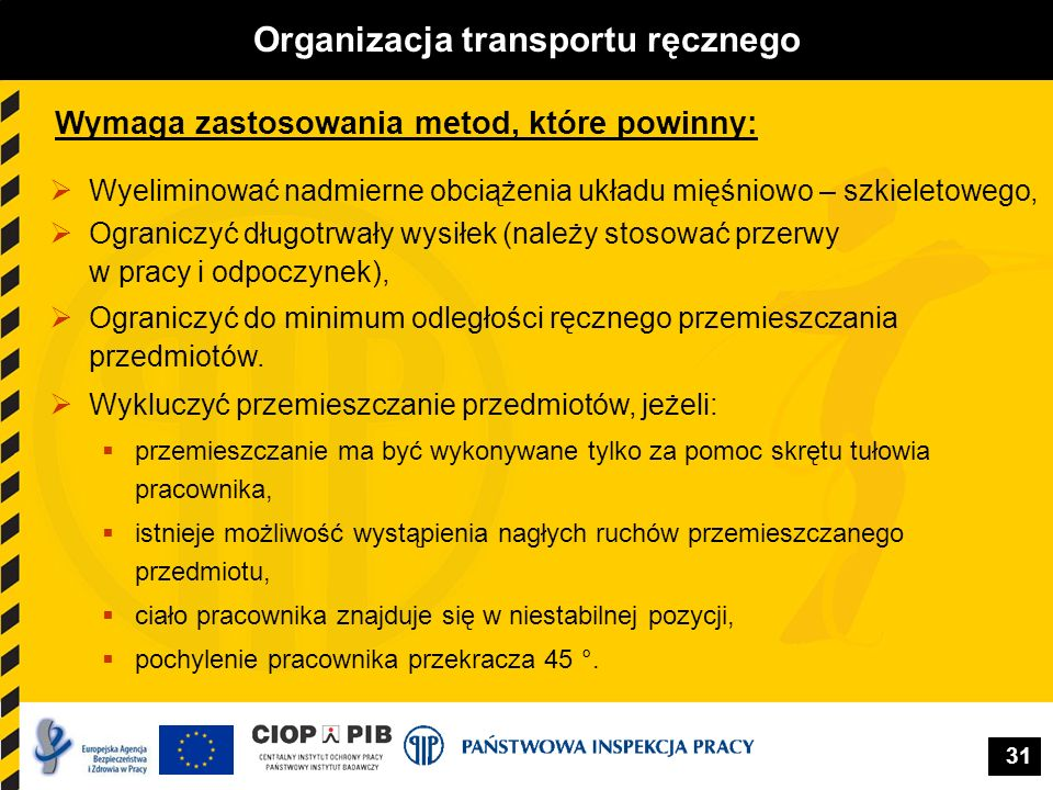 31 Organizacja transportu ręcznego Wymaga zastosowania metod, które powinny: Wyeliminować nadmierne obciążenia układu mięśniowo – szkieletowego, Ogran