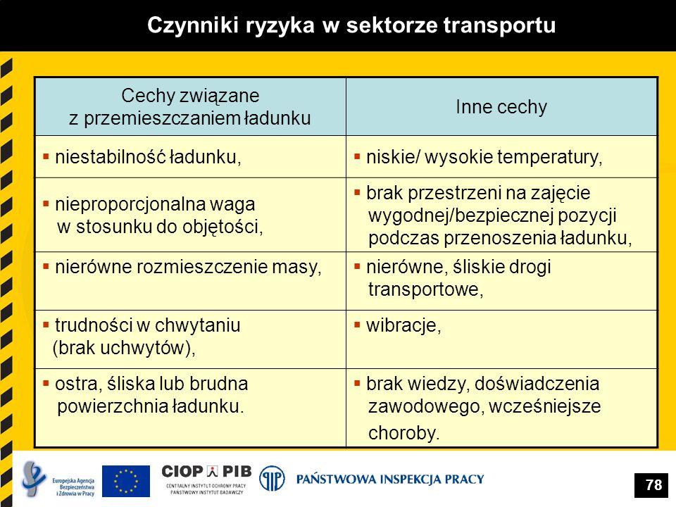 78 Czynniki ryzyka w sektorze transportu Cechy związane z przemieszczaniem ładunku Inne cechy niestabilność ładunku, niskie/ wysokie temperatury, niep