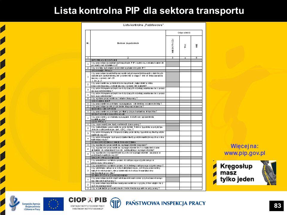 83 Lista kontrolna PIP dla sektora transportu Więcej na: www.pip.gov.pl