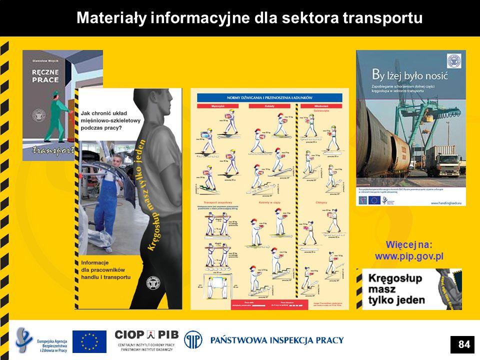 84 Materiały informacyjne dla sektora transportu Więcej na: www.pip.gov.pl
