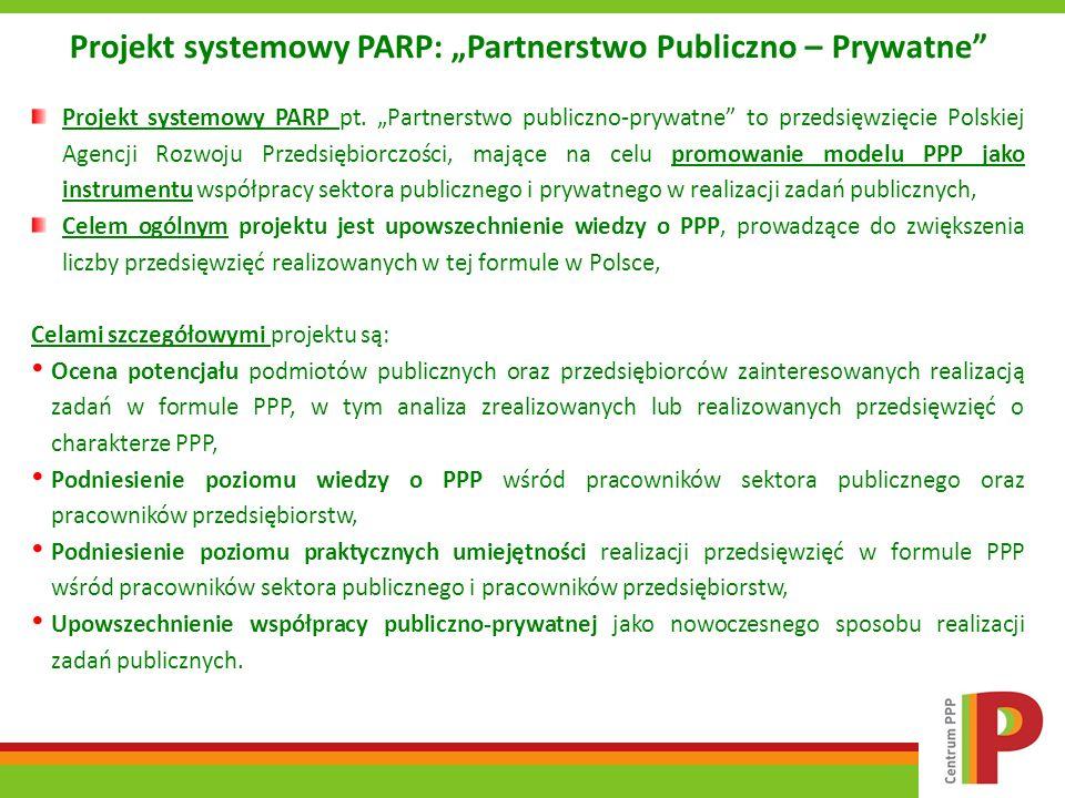 Projekt systemowy PARP: Partnerstwo Publiczno – Prywatne Projekt systemowy PARP pt. Partnerstwo publiczno-prywatne to przedsięwzięcie Polskiej Agencji