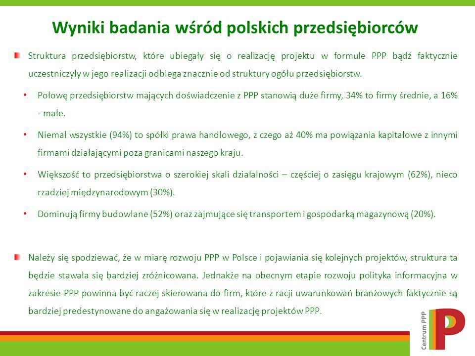 Wyniki badania wśród polskich przedsiębiorców Struktura przedsiębiorstw, które ubiegały się o realizację projektu w formule PPP bądź faktycznie uczest