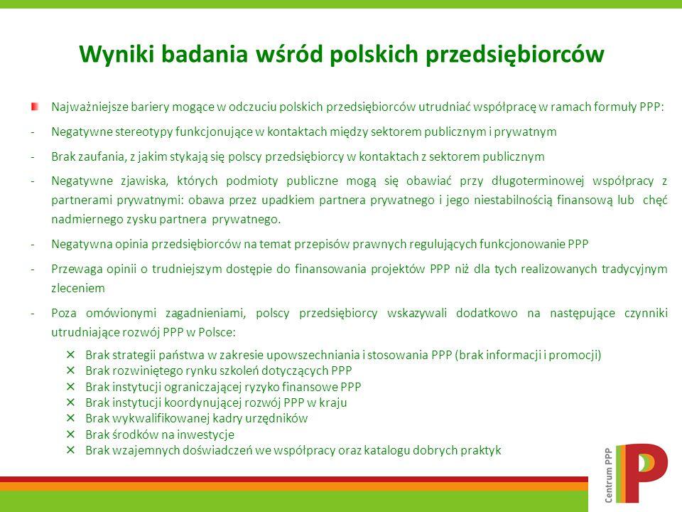 Wyniki badania wśród polskich przedsiębiorców Najważniejsze bariery mogące w odczuciu polskich przedsiębiorców utrudniać współpracę w ramach formuły P