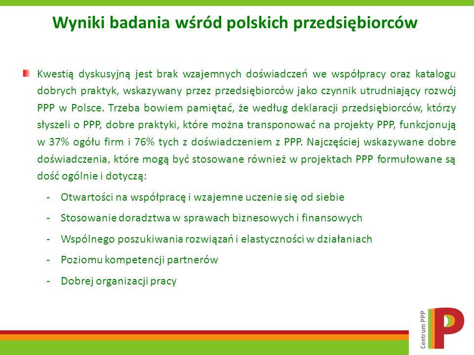 Wyniki badania wśród polskich przedsiębiorców Kwestią dyskusyjną jest brak wzajemnych doświadczeń we współpracy oraz katalogu dobrych praktyk, wskazyw