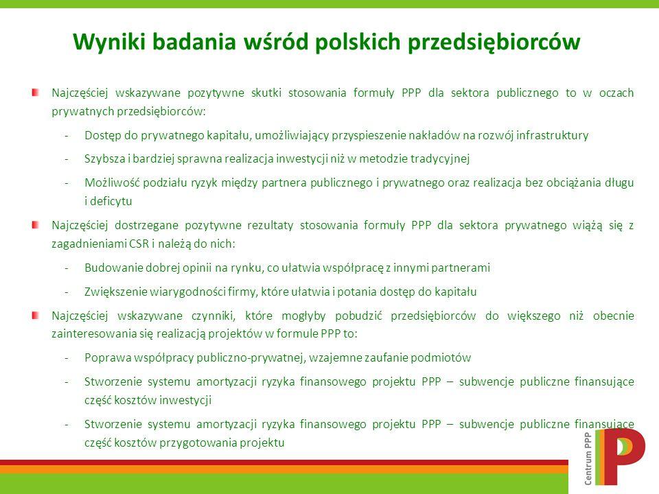 Wyniki badania wśród polskich przedsiębiorców Najczęściej wskazywane pozytywne skutki stosowania formuły PPP dla sektora publicznego to w oczach prywa
