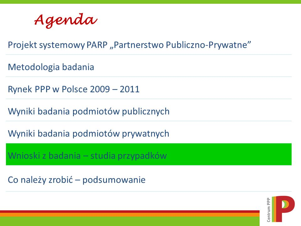 Projekt systemowy PARP Partnerstwo Publiczno-Prywatne Metodologia badania Rynek PPP w Polsce 2009 – 2011 Wyniki badania podmiotów publicznych Wyniki b