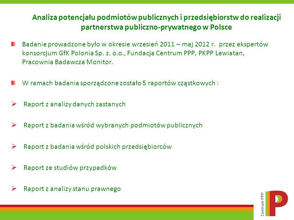 Wyniki badania wśród polskich przedsiębiorców Kwestią dyskusyjną jest brak wzajemnych doświadczeń we współpracy oraz katalogu dobrych praktyk, wskazywany przez przedsiębiorców jako czynnik utrudniający rozwój PPP w Polsce.