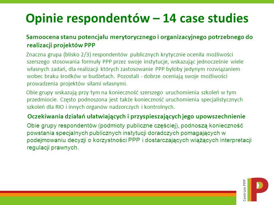 Opinie respondentów – 14 case studies Samoocena stanu potencjału merytorycznego i organizacyjnego potrzebnego do realizacji projektów PPP Znaczna grup