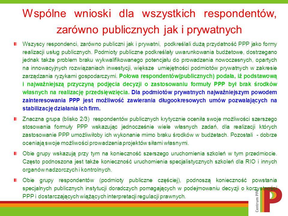 Wspólne wnioski dla wszystkich respondentów, zarówno publicznych jak i prywatnych Wszyscy respondenci, zarówno publiczni jak i prywatni, podkreślali d