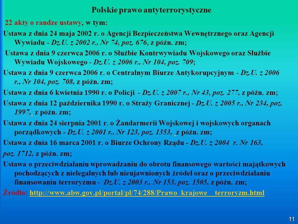 11 Polskie prawo antyterrorystyczne 22 akty o randze ustawy, w tym: Ustawa z dnia 24 maja 2002 r. o Agencji Bezpieczeństwa Wewnętrznego oraz Agencji W