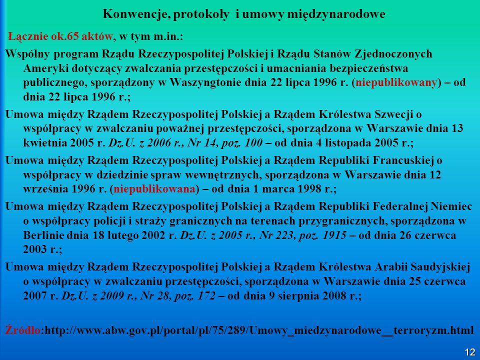 12 Konwencje, protokoły i umowy międzynarodowe Łącznie ok.65 aktów, w tym m.in.: Wspólny program Rządu Rzeczypospolitej Polskiej i Rządu Stanów Zjedno