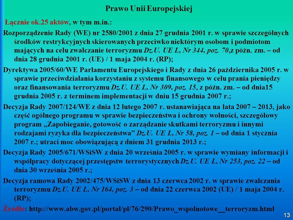 13 Prawo Unii Europejskiej Łącznie ok.25 aktów, w tym m.in.: Rozporządzenie Rady (WE) nr 2580/2001 z dnia 27 grudnia 2001 r. w sprawie szczególnych śr